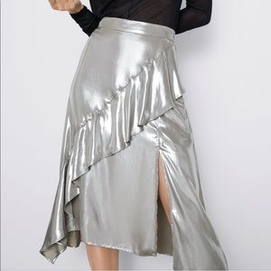 Zara metallic effect ruffled skirt